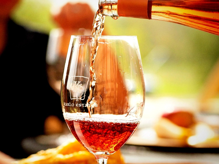 Glass of wine from Karlo Estates