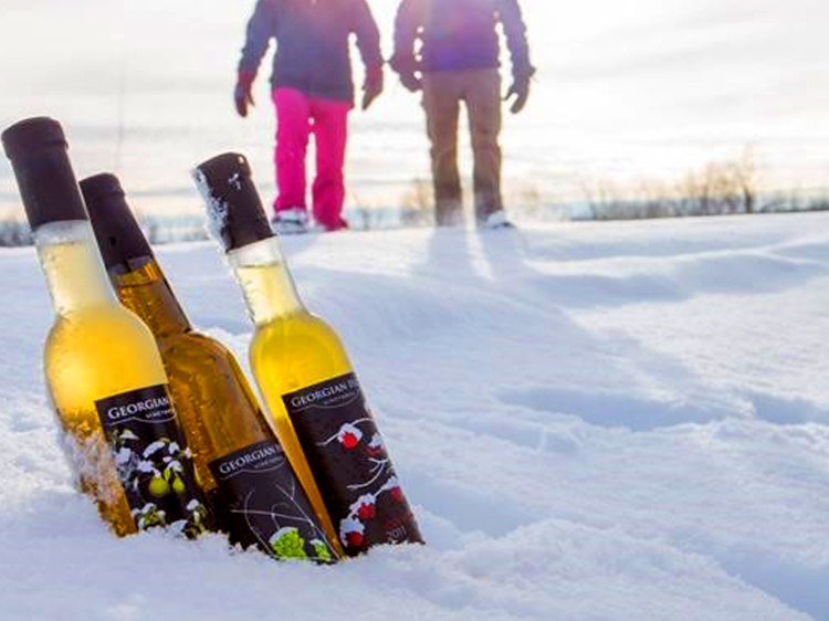 Two people snowshoeing towards three bottles of wine