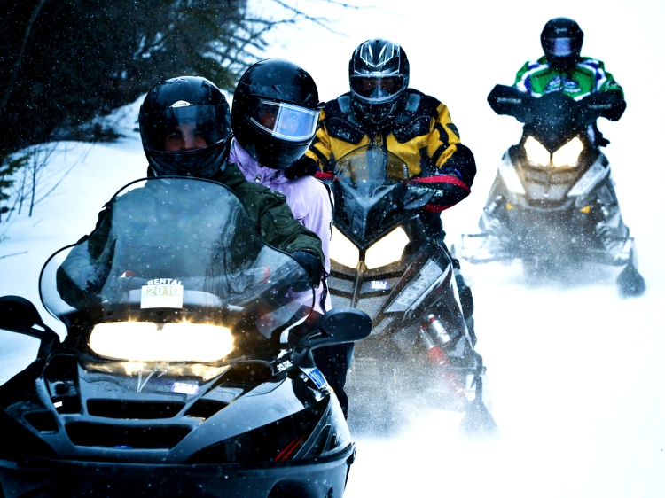 Four people in a row riding on snowmobiles.